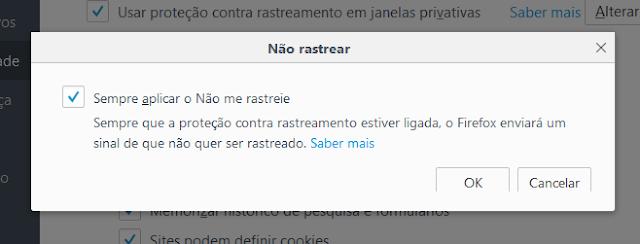 Firefox - Não rastrear