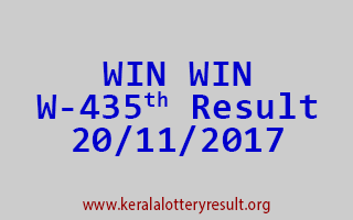 WIN WIN Lottery W 435 Results 20-11-2017