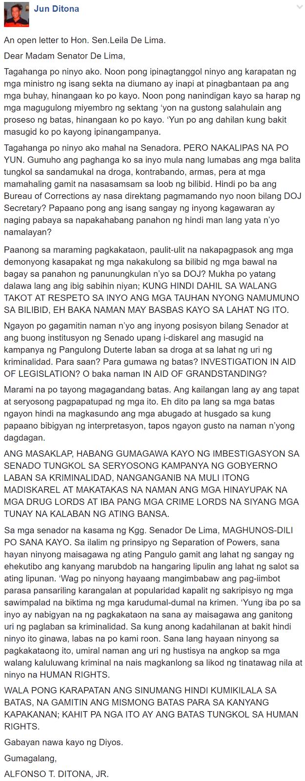 A philosopher's powerful open letter to De Lima: Gumuho ang paghanga ko sa inyo senadora