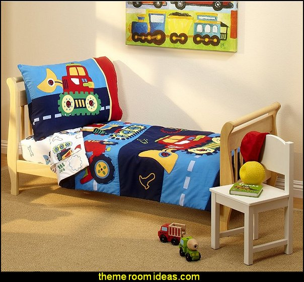 Kids Toddler Bedding Set, Under Construction Excavator Construction Vehicles Trucks