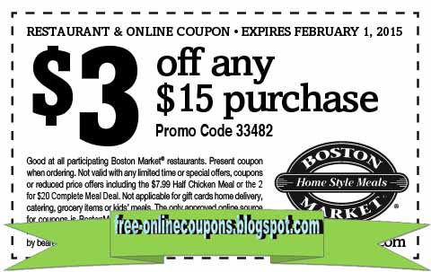 photograph about Printable Boston Market Coupons referred to as Boston sector coupon codes april 2019