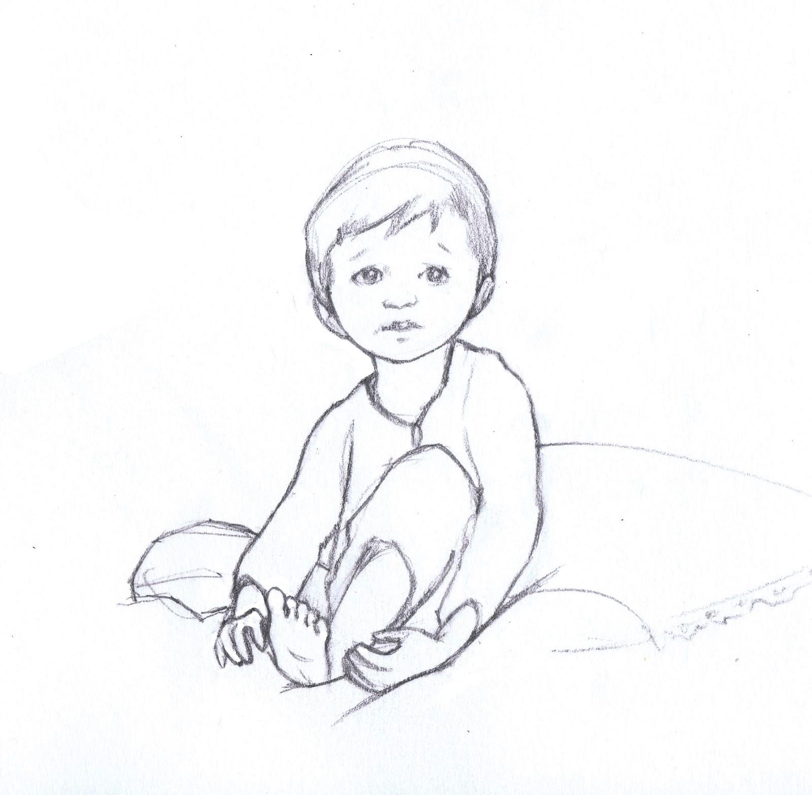 Little Boy Sketch Amy Proud Illustration