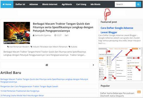 Cara Memasang Widget Blogger Terbaru Featured Post Entri yang Diunggulkan dan Fungsinya
