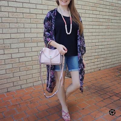 awayfromtheblue Instagram | target karolina floral kimono with black tee bermuda denim shorts rebecca minnkoff darren messenger playground style