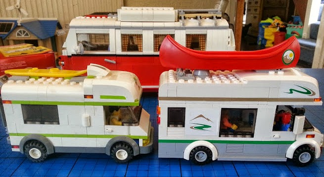 Selection of LEGO camper van models motorhomes built from bricks