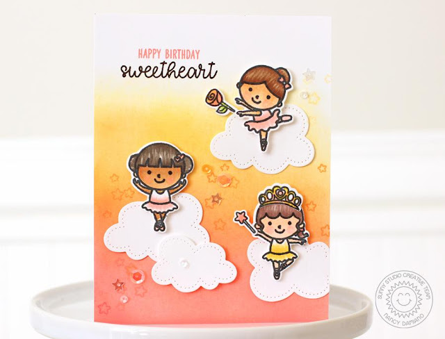 Sunny Studio Stamps: Tiny Dancers Ombre Floating Cloud Birthday Card by Nancy Damiano