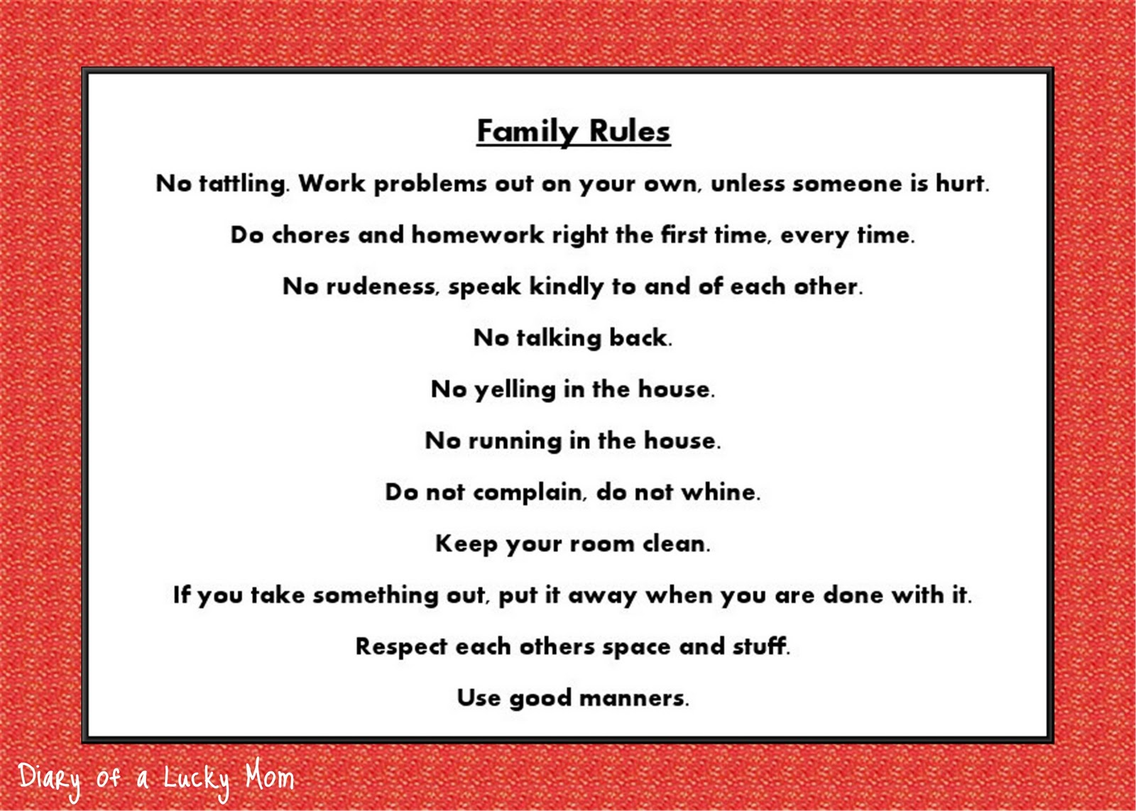 Diary Of A Lucky Mom Family Rules