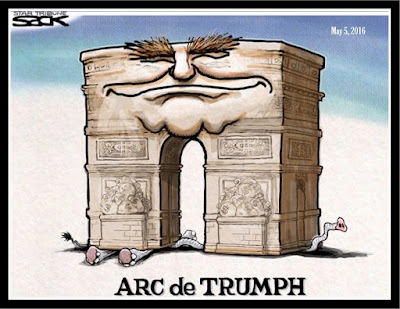 ARC de TRUMPH - Trump crushes  G.O.P. - SACDK cartoon, May 5, 2016