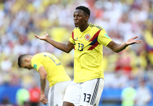 Yerry Mina of Colombia gestures during the 2018 FIFA World Cup Russia group H match between Senegal and Colombia at Samara Arena on June 28, 2018 in Samara, Russia.