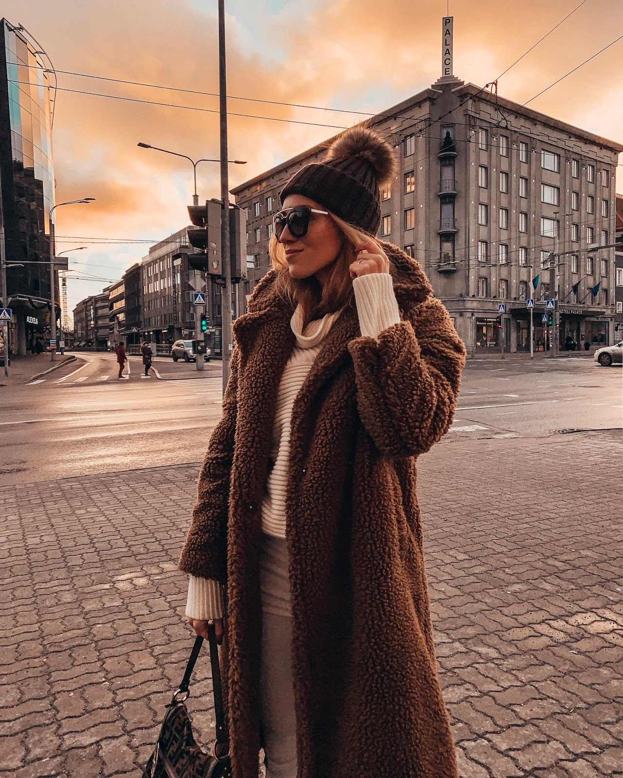 mango teddy coat fur pom pom hat sunglasses outfit