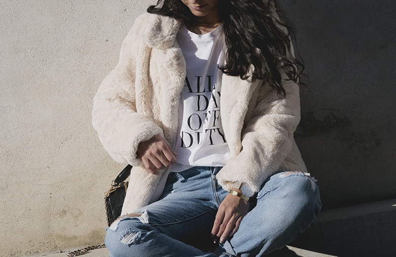 faux fur jacket, all day off duty sincerely jules tee