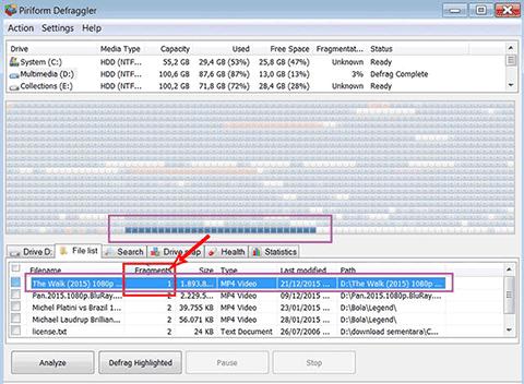 Hasil defrag file