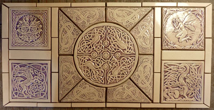Decorative Custom Handmade Celtic Ceramic Tile Set