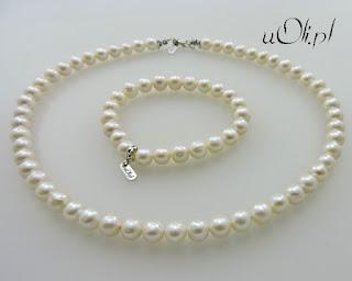 Białe perły w srebrze – komplet