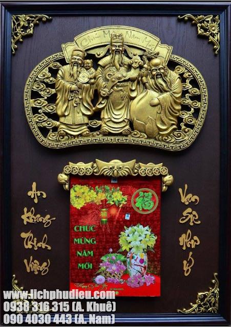 3 vị Phúc Lộc Thọ luôn được trưng bày cùng nhau, kết hợp trong Lịch Phù Điêu mang lại mọi điều tốt đẹp cho cả năm 365 ngày