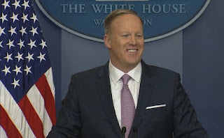 President Trump spokesman Sean Spicer answers questions during a press briefing on Monday.