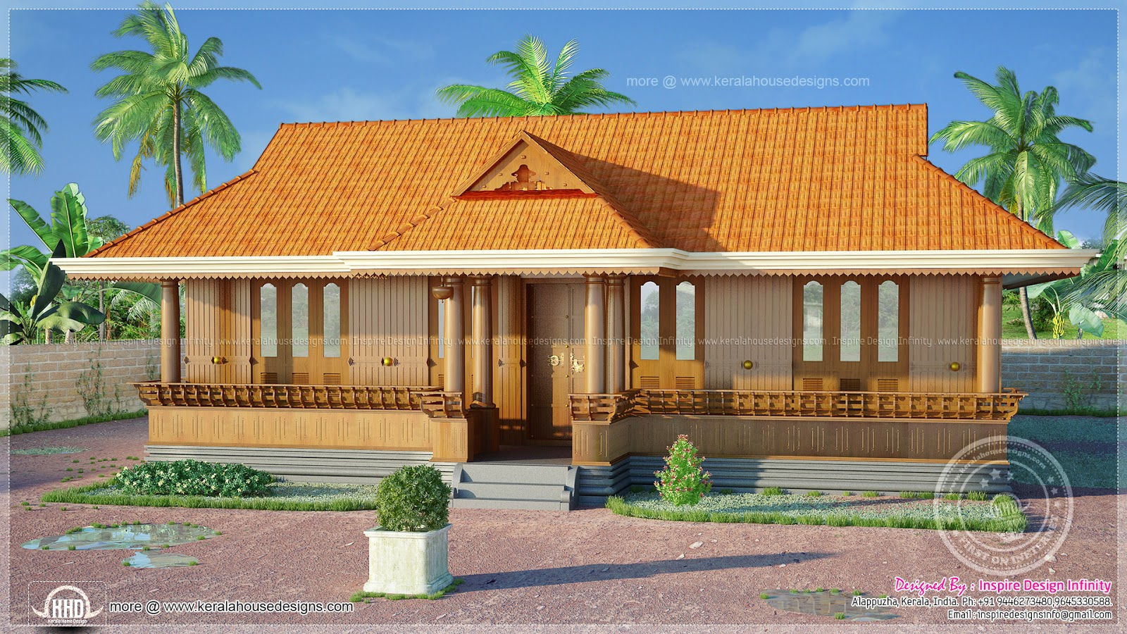1250 square feet traditional nalukettu home kerala home for Veedu elevation