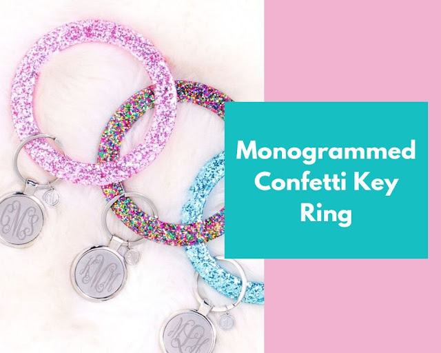 pink, confetti, and blue key chains