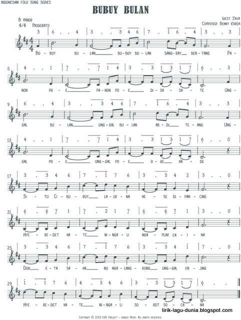 Notasi Lagu Bubuy Bulan