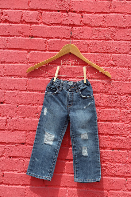 etsy handmad distressed jeans denim kids baby toddler ripped acid washed bleached small business woman owned business boys laddered torn