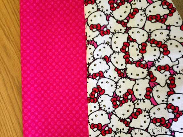 band sewed onto the hello kitty fabric