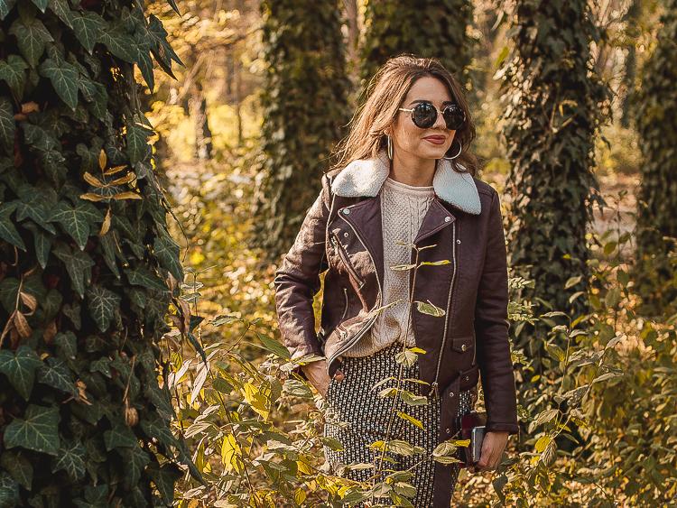 fashion blogger diyorasnotes leather jacket print pants boots asos dresslily