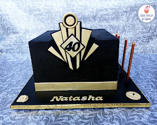 Great Gatsby Inspired Cake Square Cake Tier Black Ganache Gold 40th Birthday