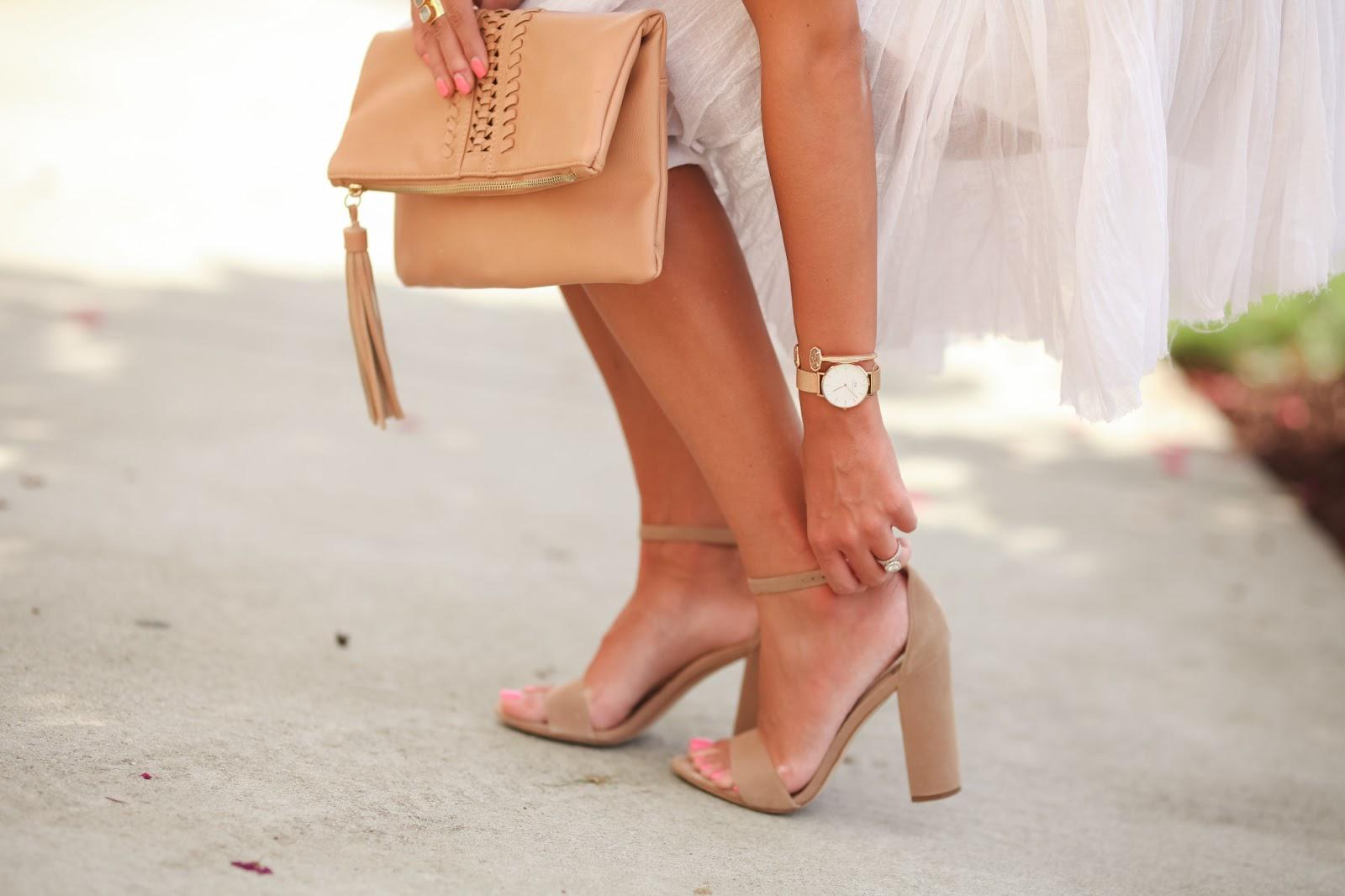 e0dfecf0d Sam Edelman Yaro Ankle Strap Sandals    Free People Lace Mini Dress     Kendra Scott Kirsten Earrings    Brown Clutch