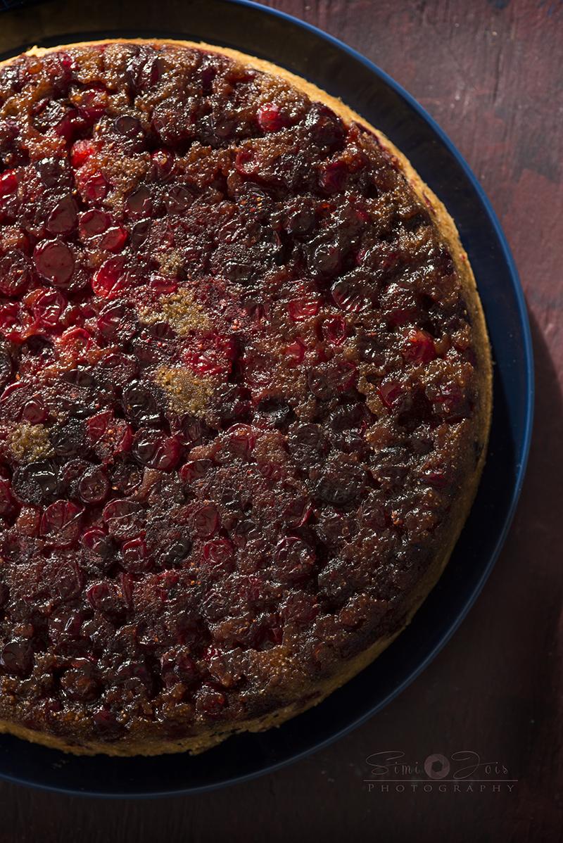 David Lebovitz's Cranberry Upside down Cake - Simi Jois Photography