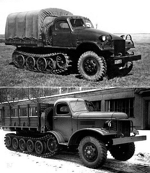 Опытные грузовые автомобили ЗИС-153 - сверху на базе Sonderkraftfahrzeug 11 и на базе ЗИС-151 снизу