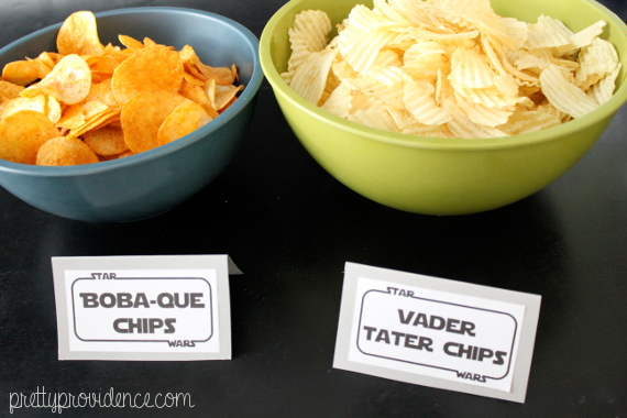 boba-que and vader tater chips | star wars themed party, food, decor and kids games on pretty providence