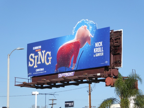 Gunter Pig Flashdance Sing movie extension billboard