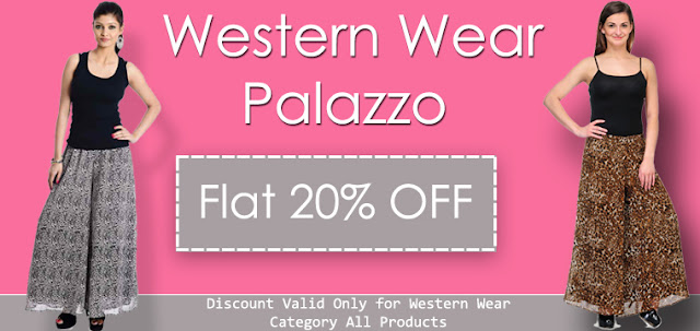 Buy Online Western Wear Ladies Palazzo in Flat 20% Discount Offer Sale