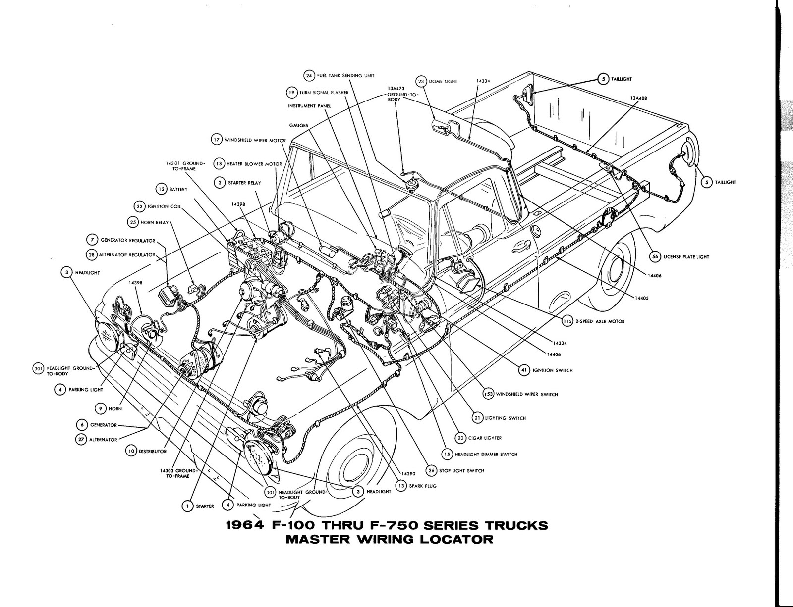 small resolution of 1964 ford f 100 thru f 750 truck master wiring