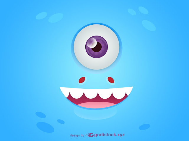 Free Download PSD OF Funny Eyes Blue Monsters Cards