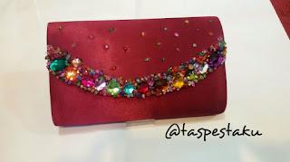 Tas Pesta Mewah Clutch Bag Cantik Maroon