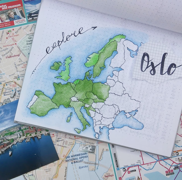 mapa Europy, pocztówka, Oslo, zwiedzanie Oslo, mapa, bullet journal, mapa Oslo, city tour, Oslo trip