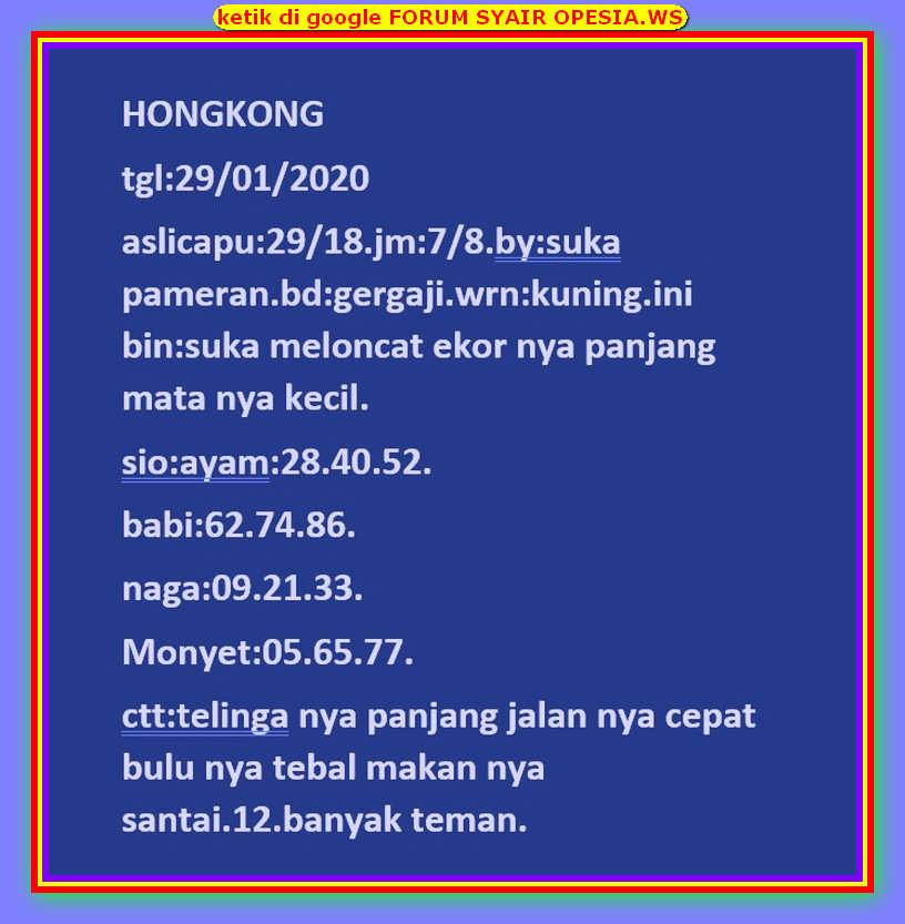 Kode syair Hongkong Rabu 29 Januari 2020 17