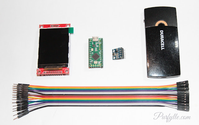 screen, micro controller, temperature sensor, rechargeable battery, wires