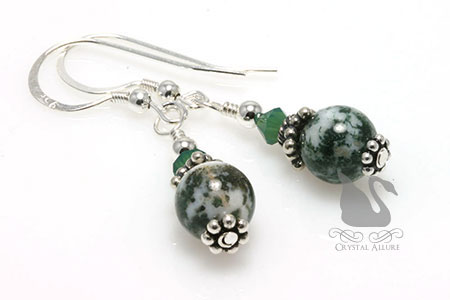 Bali Star Green Organ Transplant Awareness Earrings (E239) in Tree Agate Gemstone