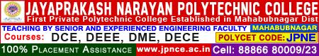 Jayaprakash Narayana polychnic college mahabubnagar Courses: DCE, DEEE, DME, DECE, Ph: 8886680009