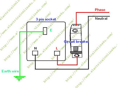 3 pin socket wiring with circuit breaker
