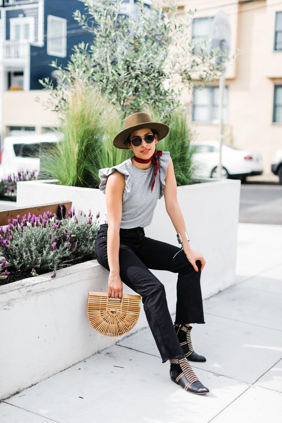 most photogenic street in San Francisco, coolest neighborhood in San Francisco, how to dress for a San Francisco summer, Cult Gaia, Jigsaw denim, ruffle tee shirt, Anine Bing Charlie boots, Goorin Bros. hat