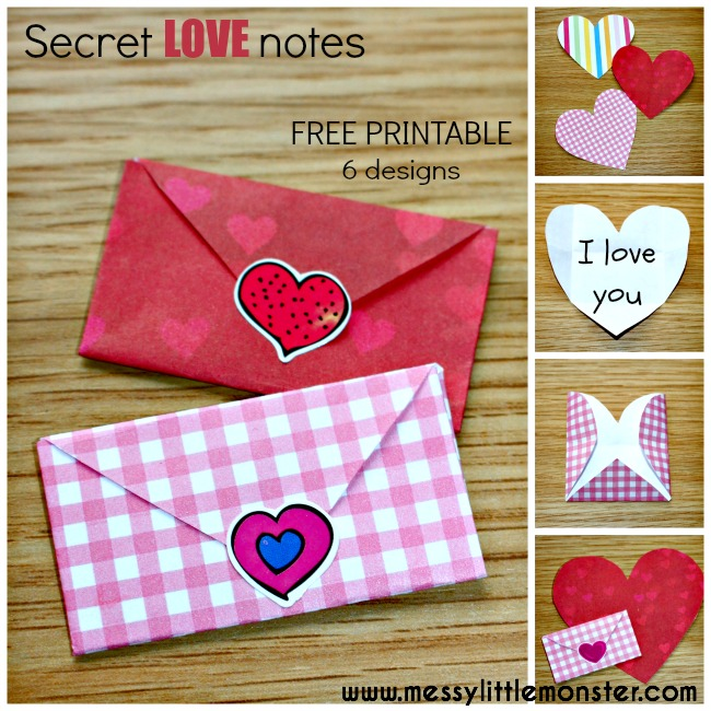 Tiny folded heart envelopes with secret love notes written inside.  A simple paper craft with FREE PRINTABLE. Valentines day craft.