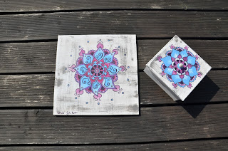 ręcznie malowane podkładki pod talerze drewno mandala