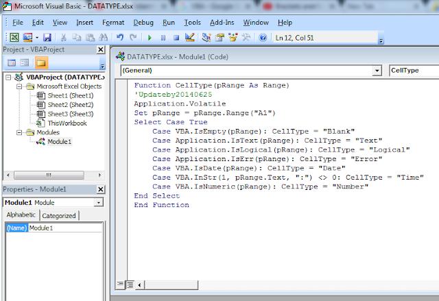 Menentukan Tipe Data Pada Excel Secara Otomatis Menggunakan VBA