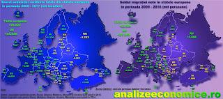 Topul statelor europene (UE și non-UE) după migrația netă