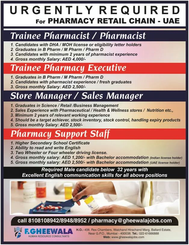 Great Opportunity for Pharmacist in UAE