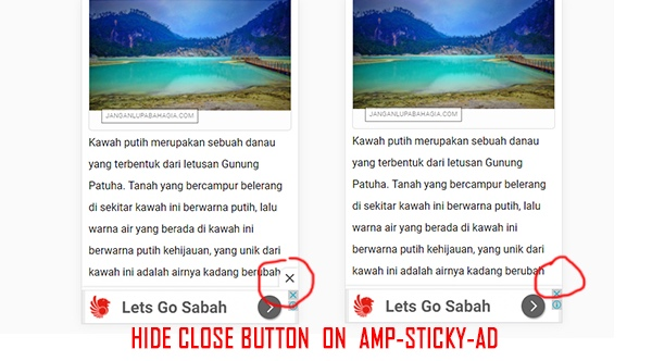 How to Remove Close Button in amp-stycky-ad