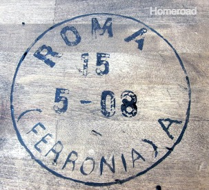 vintage stamp on wooden top